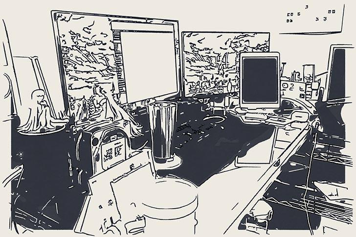 仕事部屋デスクまわり