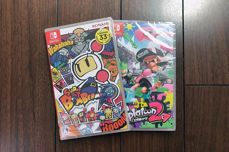 Nintendo Switch のゲーム。ボンバーマンとスプラトゥーン2