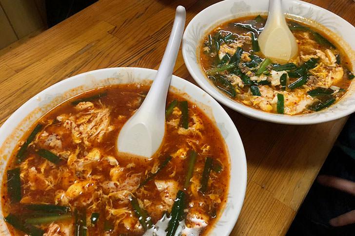 辛麺は辛さと麺が選べる。