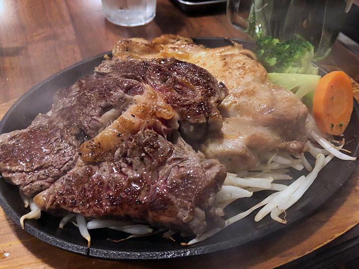 筋肉食堂のランチメニュー 鶏モモ肉200g + 牛リブロース120g