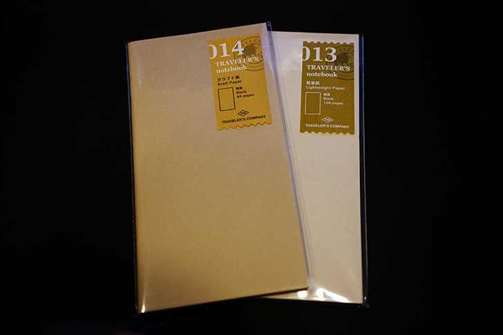 トラベラーズノート レギュラーサイズのクラフト紙と軽量紙
