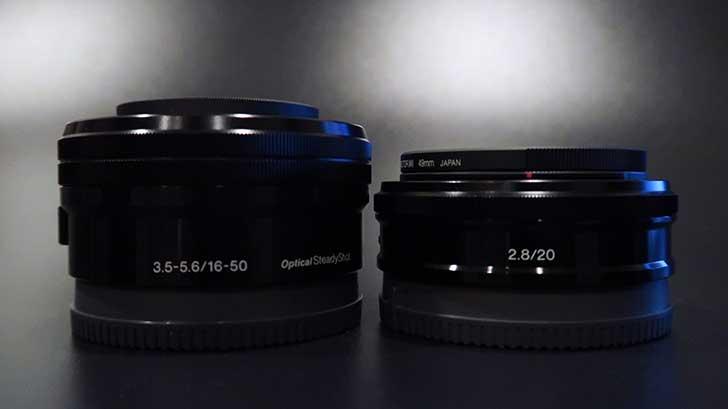 16-50mmと20mmの比較